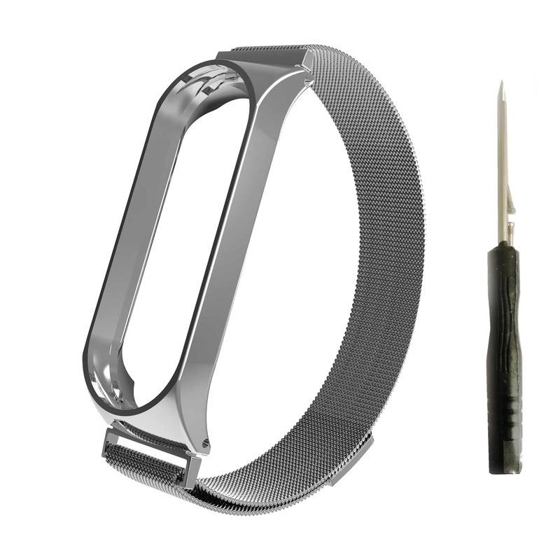 Ремешок Xiaomi Mi Band 3 Milanese Loop (+ отвертка) Silver