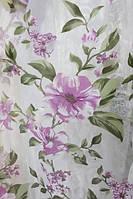 Тюль, органза з малюнком квіти Лілія рожевий