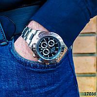 Часы мужские в стиле Rolex. Мужские наручные часы черного цвета. Часы с черным циферблатом Годинник чоловічий