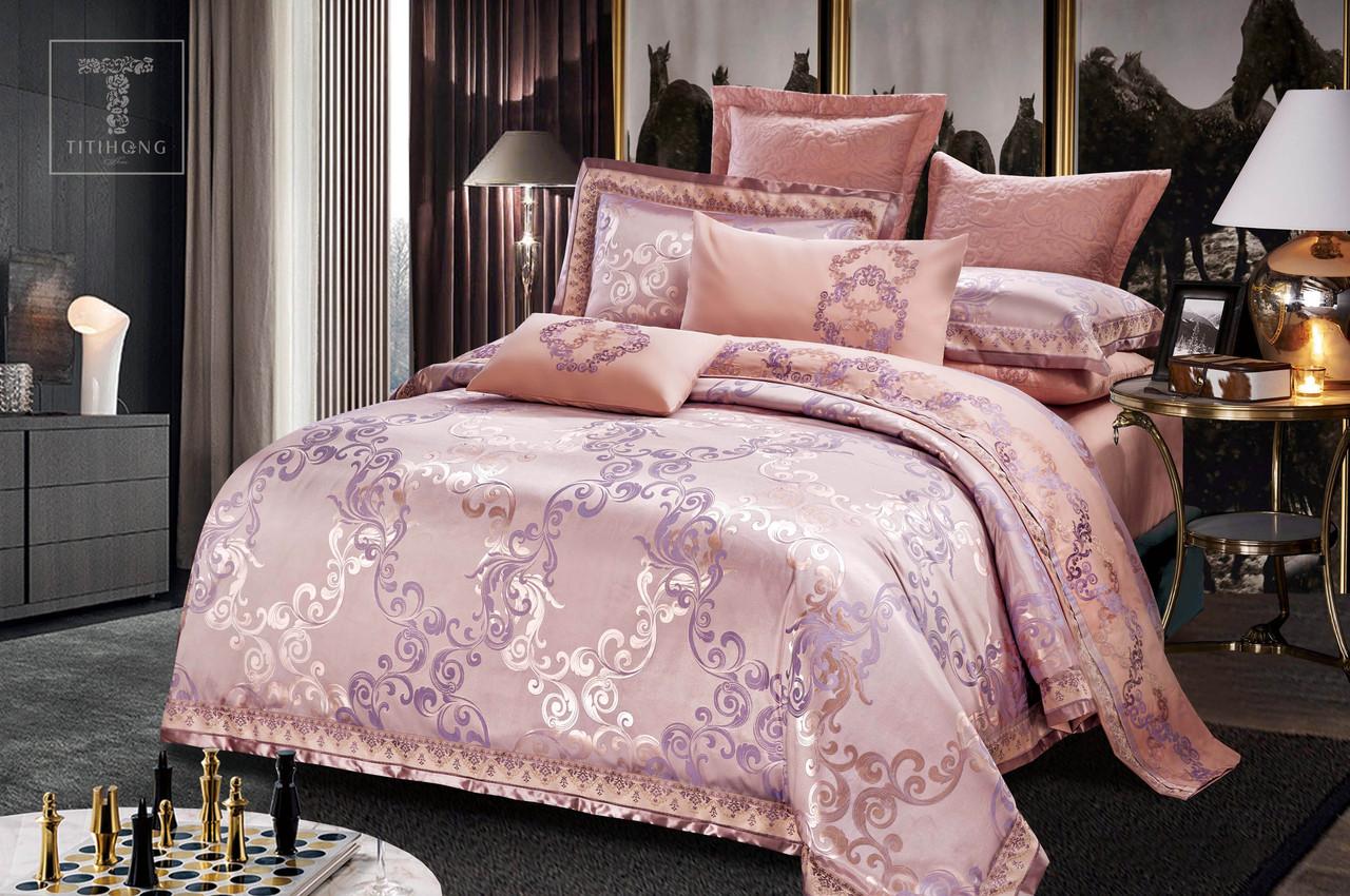 Двуспальный комплект постельного белья 180*220 жаккард сатин (13766) TM КРИСПОЛ Украина