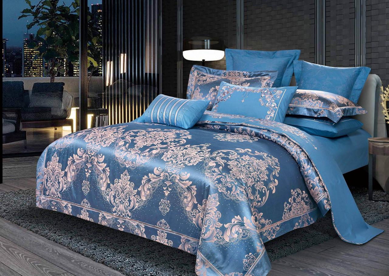 Двуспальный комплект постельного белья евро 200*220 жаккард сатин (13774) TM КРИСПОЛ Украина