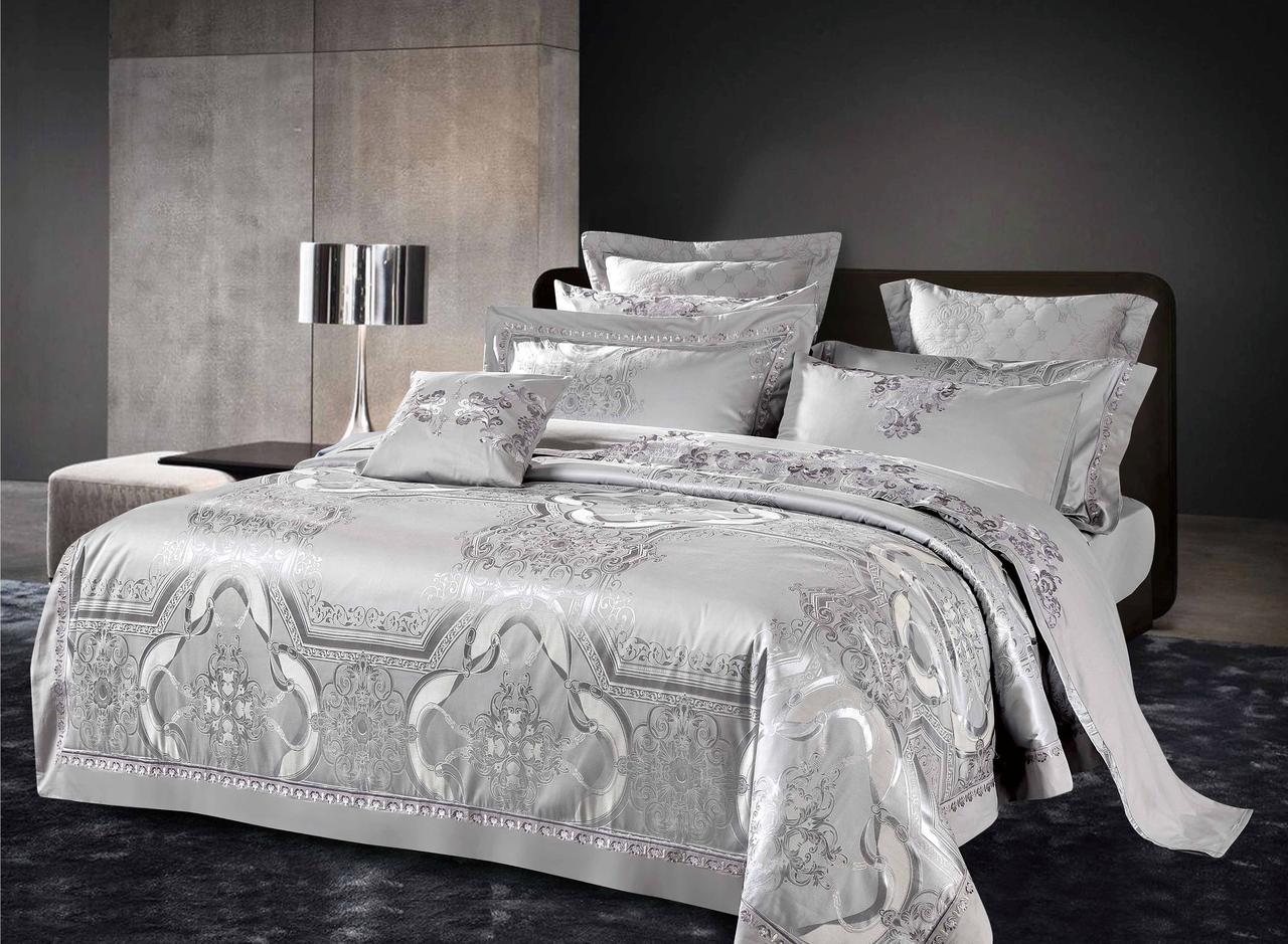 Двуспальный комплект постельного белья евро 200*220 жаккард сатин (13775) TM КРИСПОЛ Украина