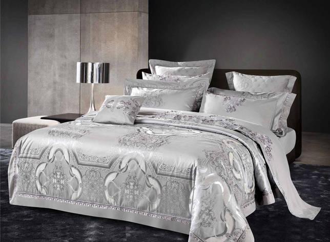 Двуспальный комплект постельного белья евро 200*220 жаккард сатин (13775) TM КРИСПОЛ Украина, фото 2