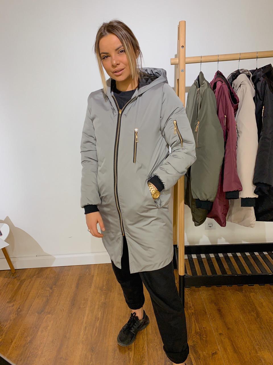 Жіноча демісезонна куртка на манжеті з кишенями 42-46 р