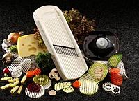 Вафельна овочерізка Deco-Star біла(хвиляста, вафельна,спіральна нарізка), фото 1