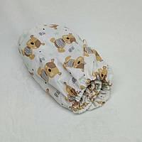 Простынь на резинке в детскую коляску Миля хлопоковая Мишки тедди 60 х 120 см (0256)
