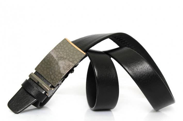 Классический кожаный ремень с пряжкой автоматического защелкивания, фото 2