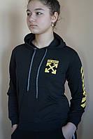 """Батник подростковый для девочки """"Off-white"""" 9-12 лет, цвет черный с желтым, фото 1"""