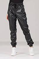 Женские кожаные кож зам штаны лосины брюки Черные Весна/Осень, фото 1