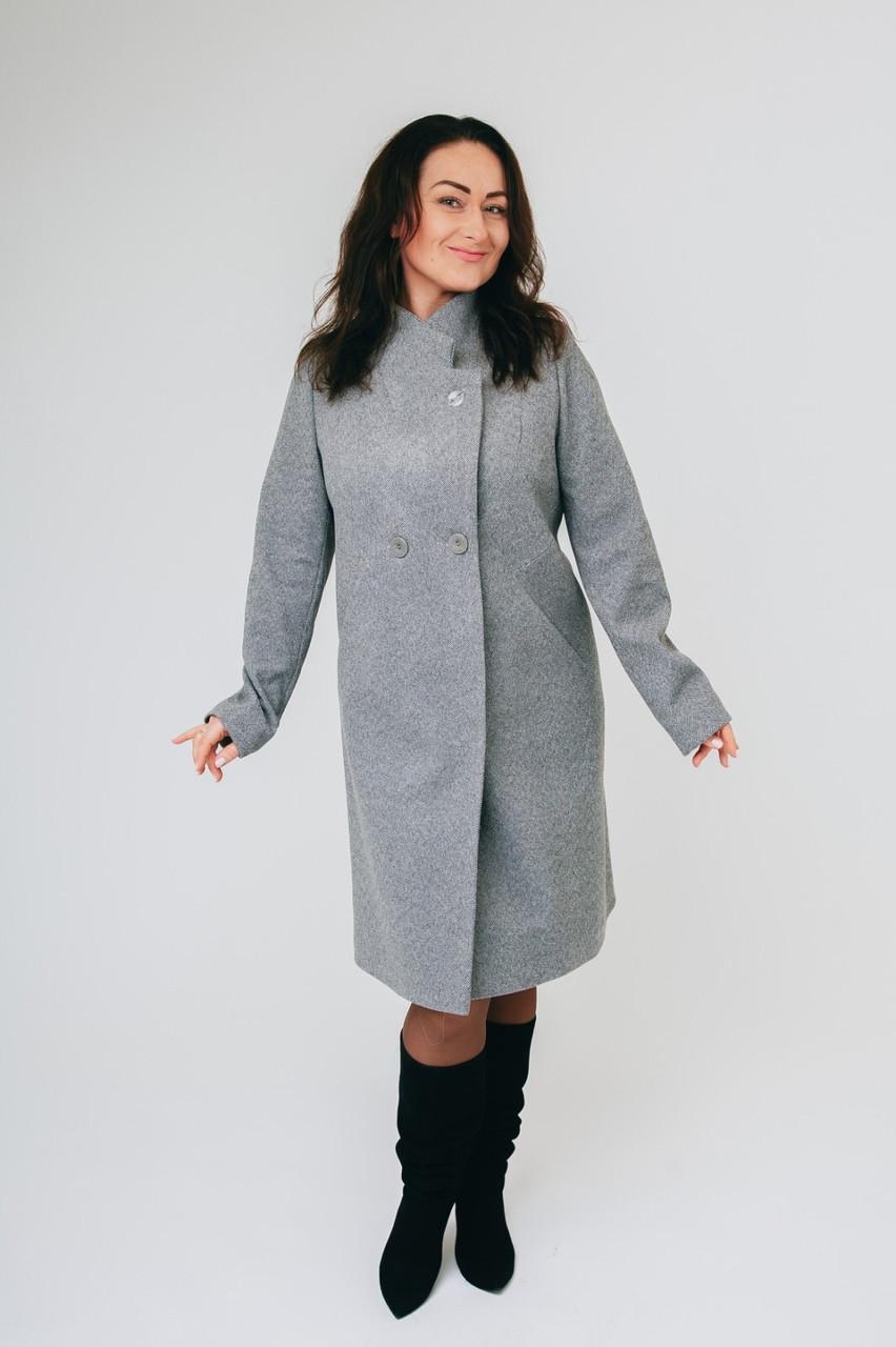 Женское серое пальто Анжелика (рр.50-58)
