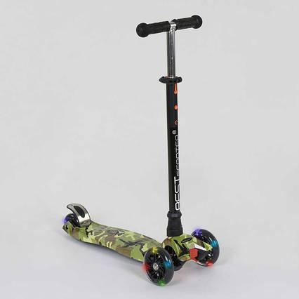 """Самокат А 25468 /779-1323 MAXI """"Best Scooter"""" (1) пластмассовый, 4 колеса PU, СВЕТ, трубка руля алюминиевая, d=12см, в коробке"""