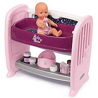 Кроватка люлька для куклы с полочкой Прованс Baby Nurse Smoby 220353 игровой набор для детей, фото 1