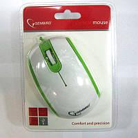 Компьютерная мышка Gembird MUS-105-G, бело-зеленая , USB