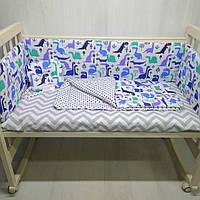 Комплект в кроватку для новорожденных Т.М.Миля Голубые дракончики 60см х 35 см в комплекте 6 шт. (506)