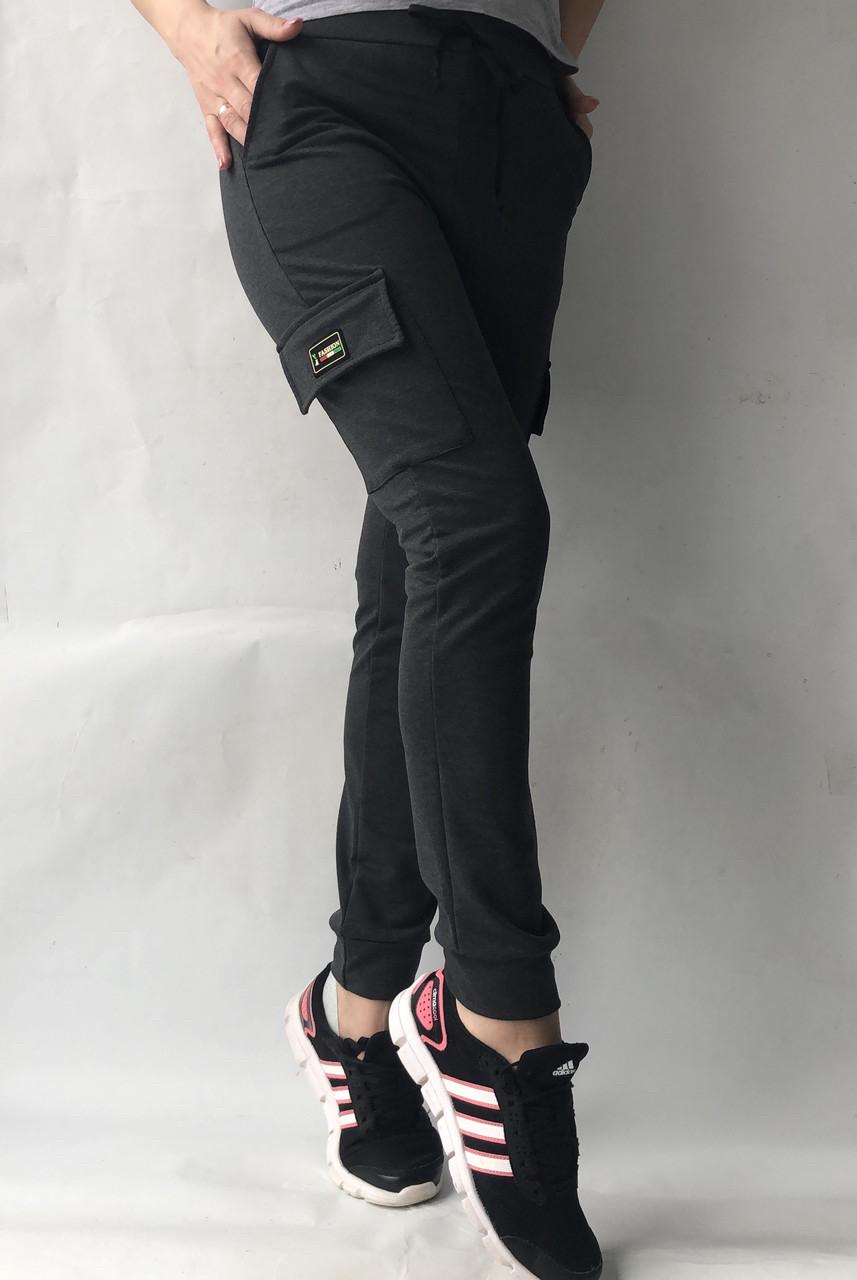 Спортивные брюки с накладными карманами N° 125 темно-серый