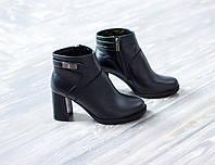 Кожаные женские ботиночки на каблучке
