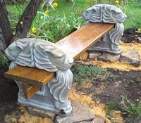 Купить лавочку(скамью) бетонную с деревянным седлом без спинки. Донецк. Луганск. Днепропетровск.