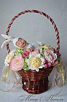 """Букет из конфет с игрушкой Анны Геддес """"Заюшкин сон"""""""