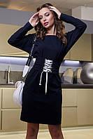 Женское платье трикотаж-двунитка с поясом на шнуровке 3964 ,в расцветках (44-50) т-синий 48