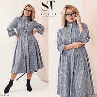 Женское платье-рубашка с резинкой на талии,размеры 48-52,54-58,арт 05108