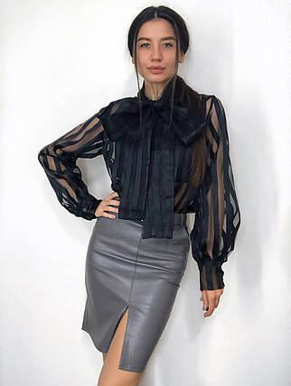Женская нарядная блуза в полоску с большим бантом 42-46 р, фото 2