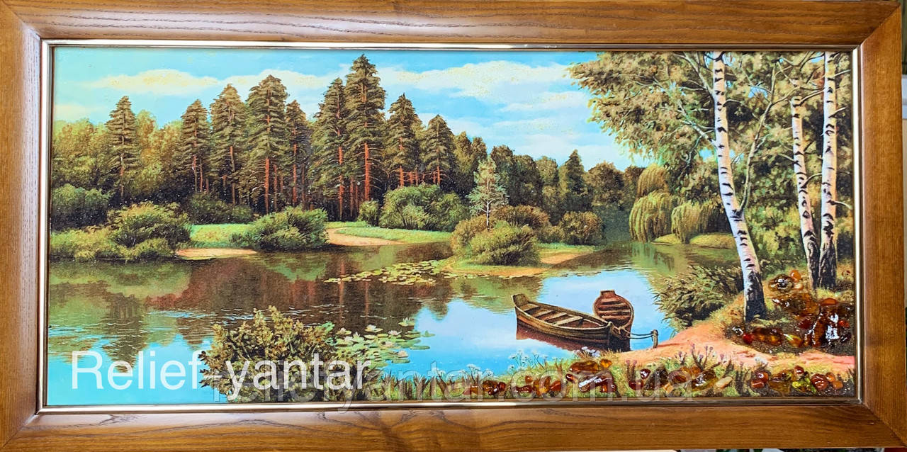 """Картина пейзаж из янтаря """" Полеский пейзаж """" 40x90 см"""