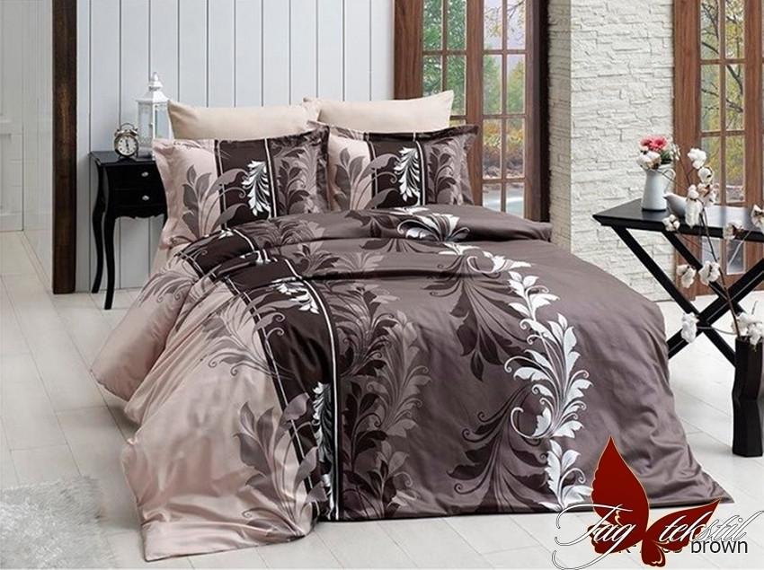 Постельное белье ранфорс 100% хлопок с компаньоном R7085 brown