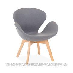 Кресло Сван Вуд Армз серый, бук, ткань