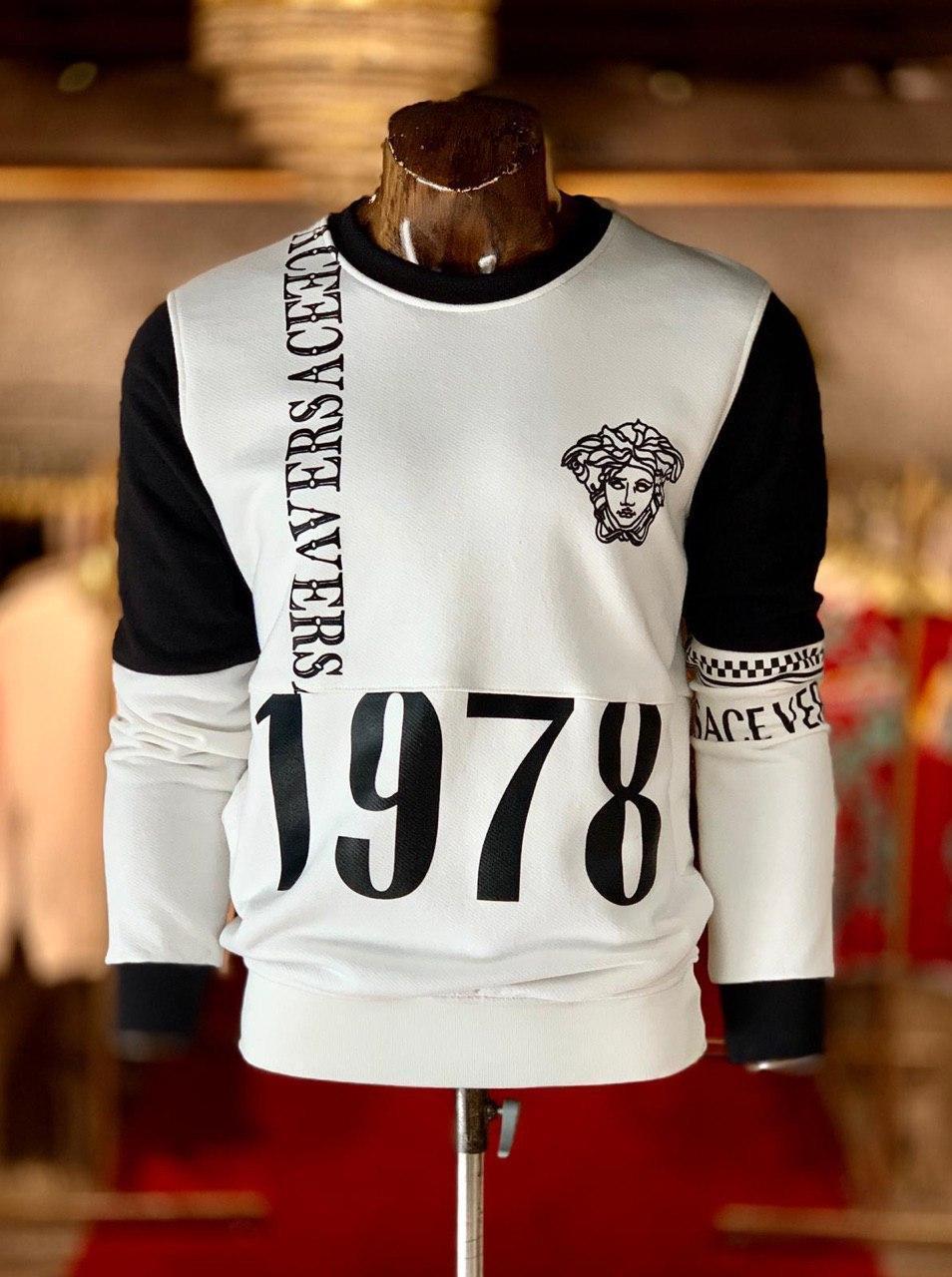 Мужская кофта бело-черная Versace GV3 (реплика)