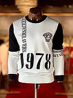 Мужская кофта бело-черная Versace GV3 (реплика), фото 1