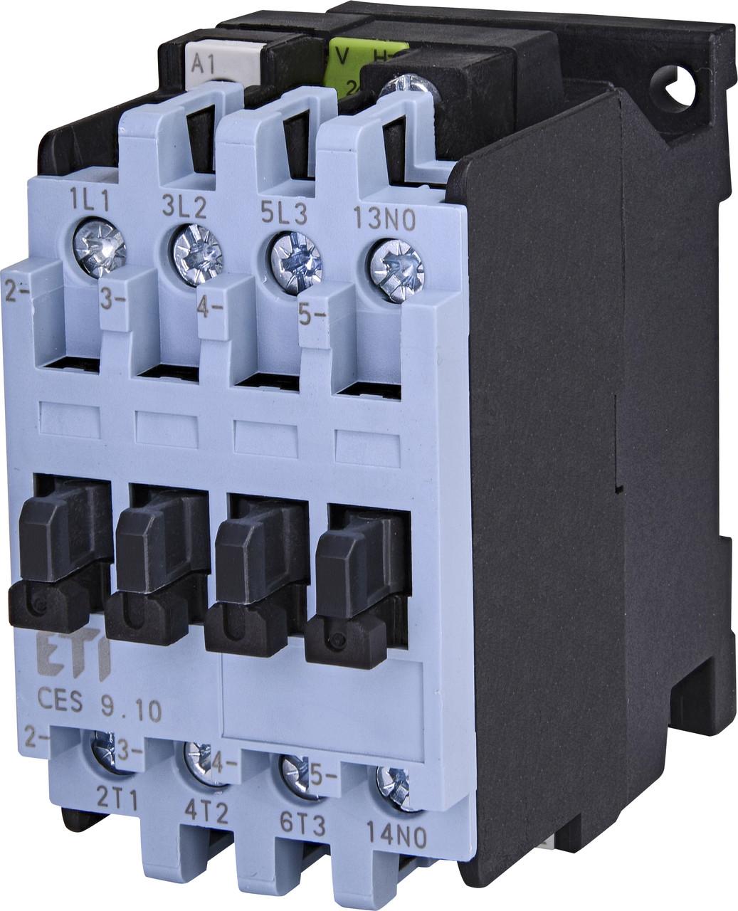 Контактор силовой ETI CES 9.10 9А 24V AC 3NO+1NO 4kW 4646510 (на DIN-рейку, 25A AC1, 9A AC3)