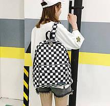 Місткий тканинний рюкзак в шахову клітку, фото 2