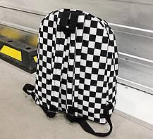 Місткий тканинний рюкзак в шахову клітку, фото 3