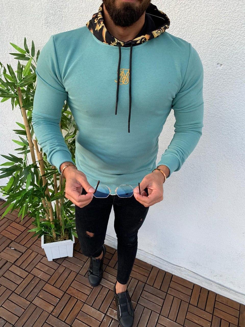 Мужская кофта голубая Sik Silk SSK2