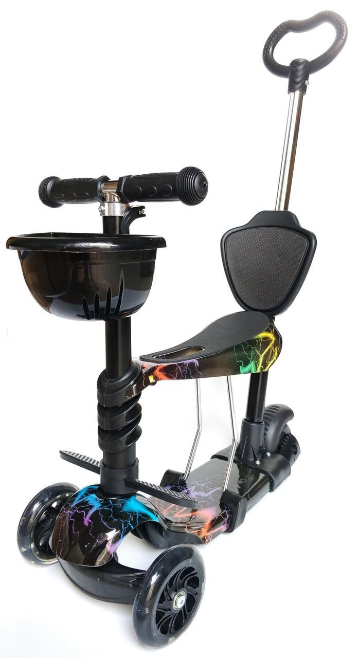 Трехколесный Самокат-Беговел scooter 5 в 1 - С родительской ручкой - Молния