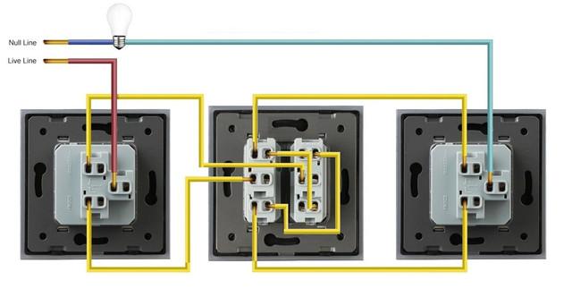 Схема подключения перекрестного выключателя Livolo