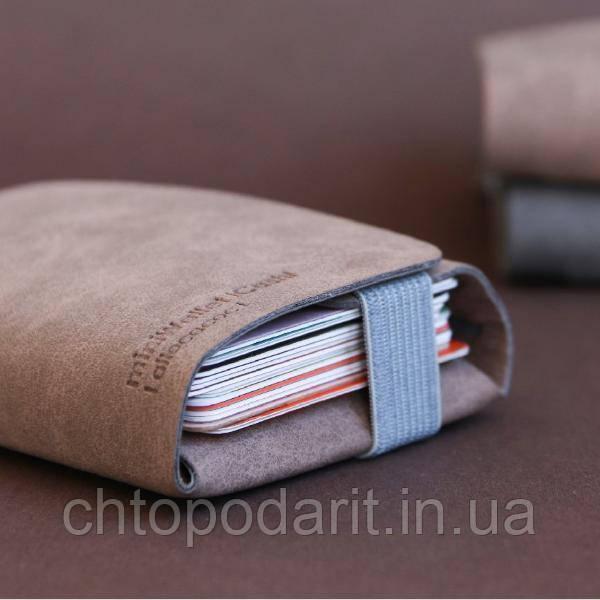 Многофункциональный мини-кошелёк MiniWallet с защитой от считывания карт светло-коричневый Код К-107