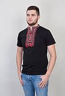 Черная мужская футболка с красной вышивкой , фото 1