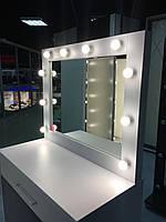 Стол для визажиста, зеркало с лампами, белый
