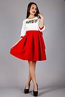 Женское вышитое платье солнце-клеш с красной юбкой , фото 1