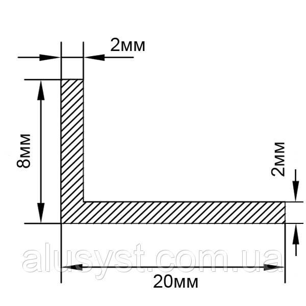 Алюминиевый уголок, Анод, 20х8х2 мм