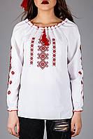 Женская вышитая блуза крестиком на белом хлопке с красным узором, фото 1