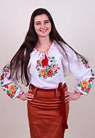 Женская вышитая блуза гладью на белом батисте с цветочным узором, фото 1