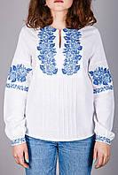 Женская вышиванка с синим узором, фото 1