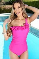 Женский розовый сдельный купальник КП-002
