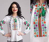 Вышитая блуза для девочки на домотканом полотне