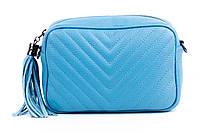 Итальянская женская сумка из натуральной кожи. Цвет: Голубой, фото 1