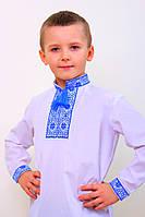Детская вышитая сорочка с синим орнаментом, фото 1