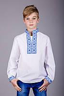 Детская вышитая сорочка с синим орнаментом и длинным рукавом, фото 1