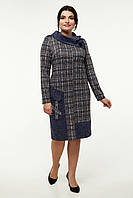 Женское платье прямое красивое стильное большого размера 54, 58, 60 р синего цвета